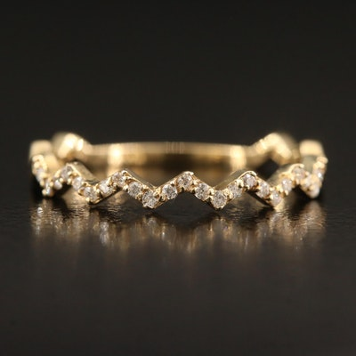 14K Diamond Zig Zag Band