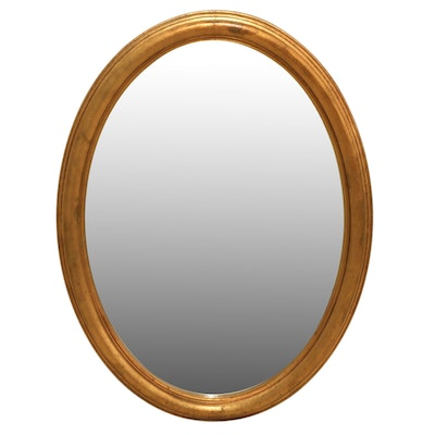 The Bombay Company Oval Wall Mirror with Gold Leaf Wood Frame
