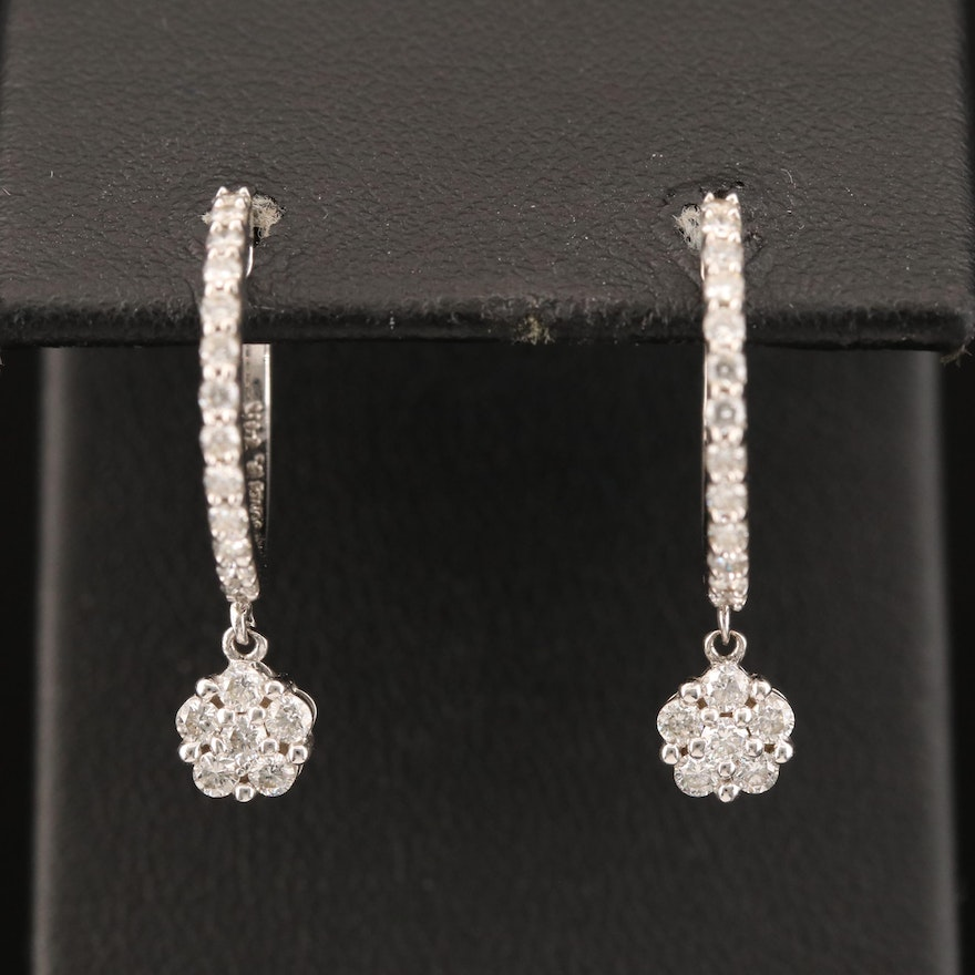 Sonia B 14K Diamond Huggie Earrings with Drop