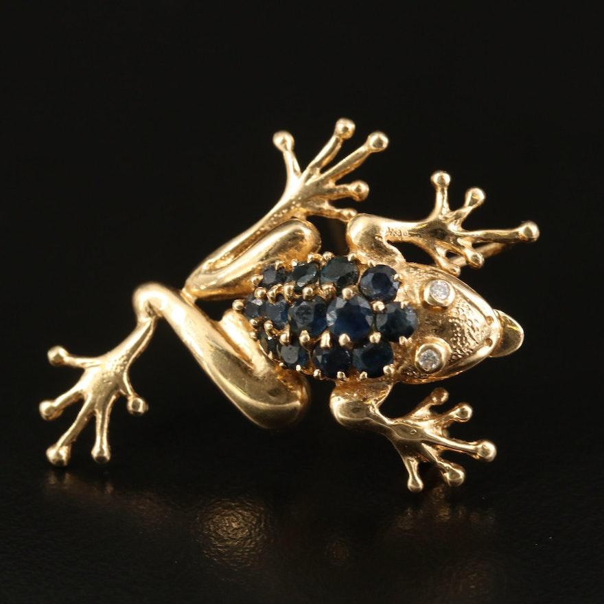 14K Sapphire and Diamond Frog Converter Brooch