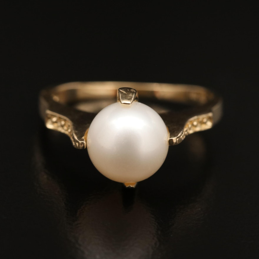 14K Cultured Pearl Solitaire Ring