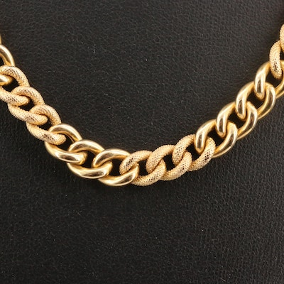 14K Textured Curb Chain Necklace with Black Onyx Accents