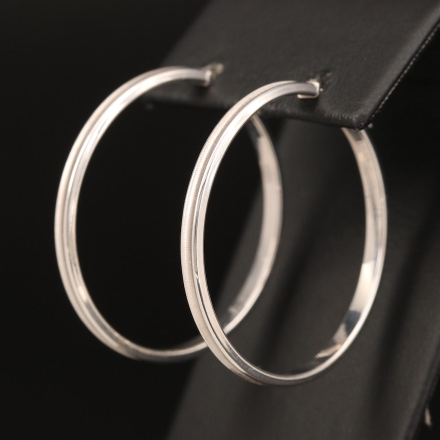 14K Hoop Earrings with Textured Detail