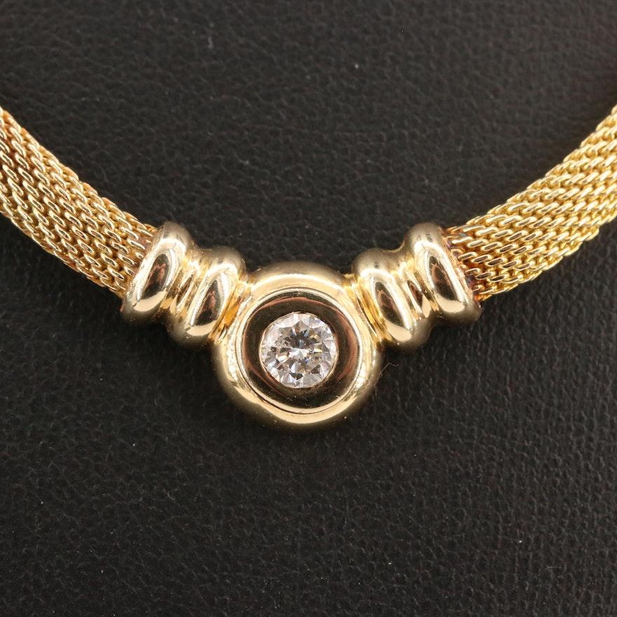 14K Diamond Mesh Necklace