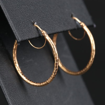 14K Textured Rose Gold Hoop Earrings