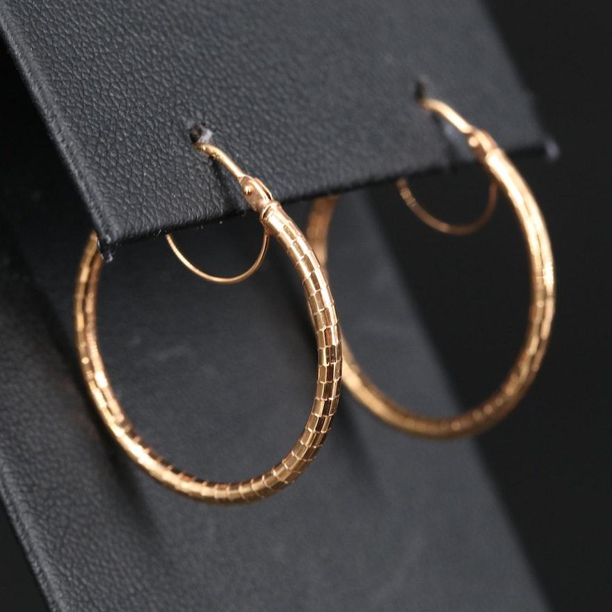 14K Textured Rose Gold Hoop Earrings