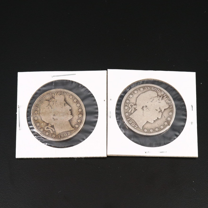 1902 and 1907-D Barber Silver Half Dollars