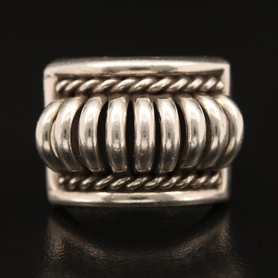 Sterling Geometric Patterned Ring