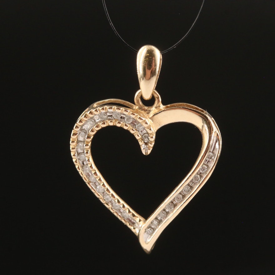 10K Channel Set Diamond Heart Pendant