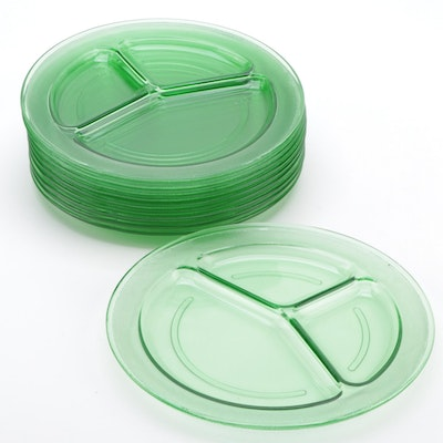 "L.E.Smith Green Depression Glass ""Homestead"" Grill Plates, Early-Mid 20th C."