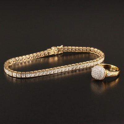 Sterling Silver Cubic Zirconia Line Bracelet and Pavé Ring