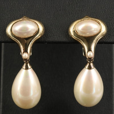 Majorica Sterling Faux Pearl Drop Earrings