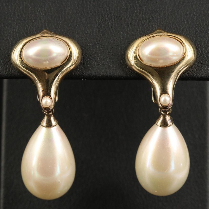 Majorica Sterling Faux Pearl Drop Earrings