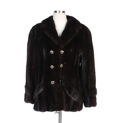 Stanley Rich Fine Furs Dark Brown Mink Double-Breasted Lapel Coat