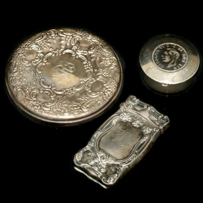 George VI Coin Sterling Silver Pill Box, Pocket Mirror and Match Safe Holder