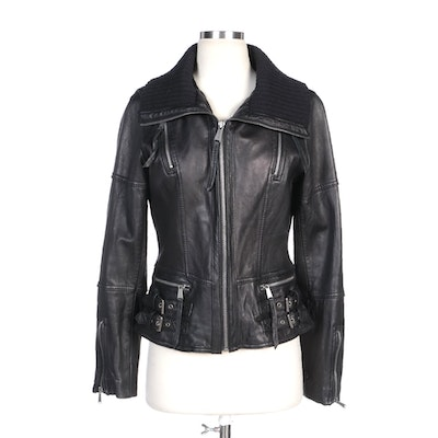 MICHAEL Michael Kors Black Leather Jacket with Knit Collar