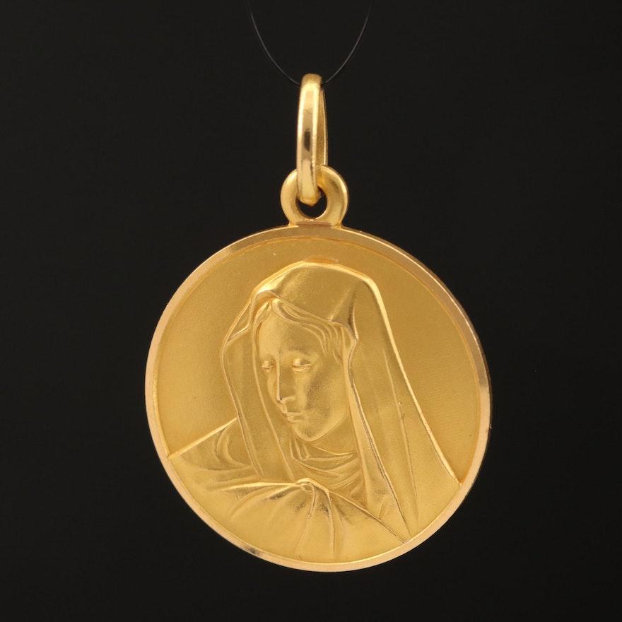 18K Mother Mary Medallion Pendant