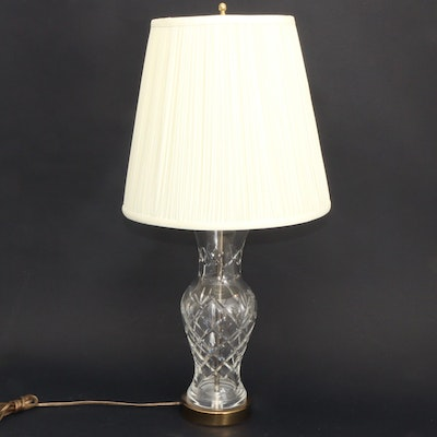 Cut Crystal Table Lamp with Brass Accents