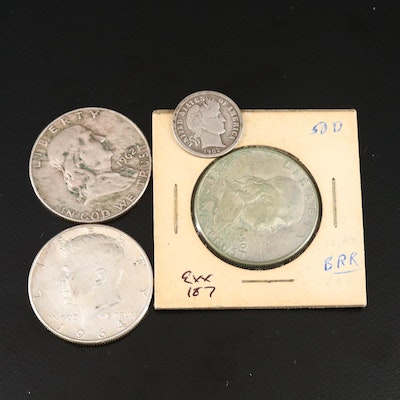 Three Silver Half Dollars and a Barber Silver Dime