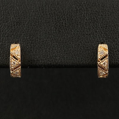 14K Diamond Openwork Huggie Earrings