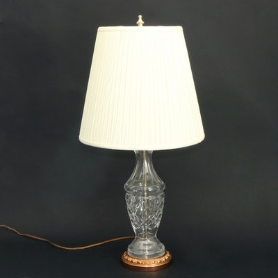 Cut Glass Table Lamp with Pleated Shade