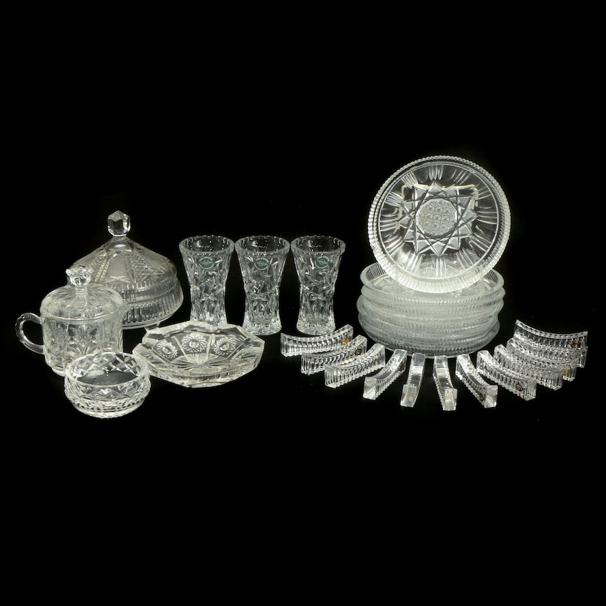 """Lenox """"Star"""" Crystal Vases with Other Crystal and Glass Serveware"""