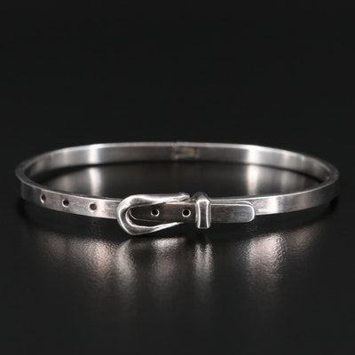 Mexican Sterling Silver Hinged Buckle Bangle