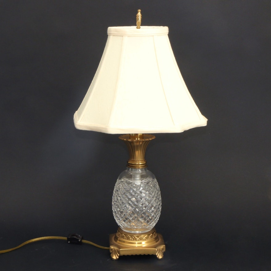 Waterford Crystal Pineapple Table Lamp with Brass Footed Base