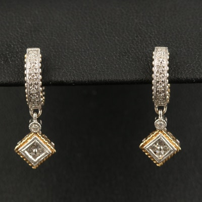 14K Diamond Huggie Drop Earrings