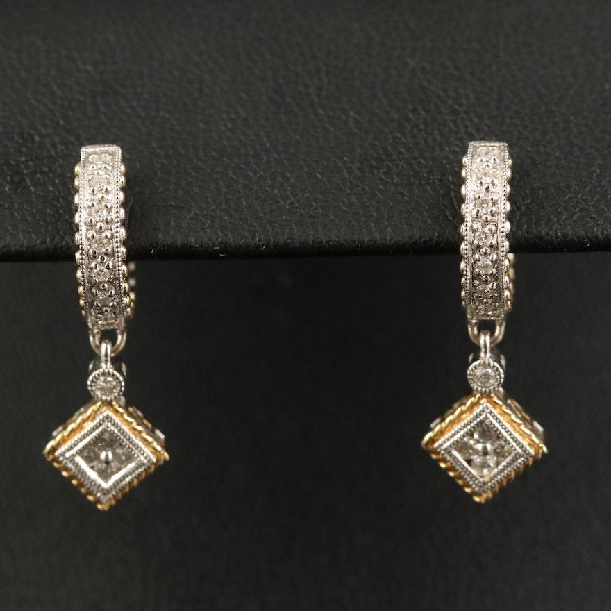 14K Diamond Huggie Drop Earrings