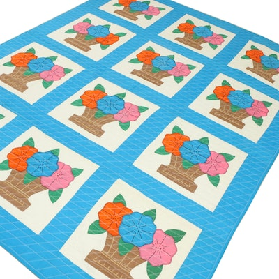 Handcrafted Floral Basket Appliqué Quilt, Late 20th Century