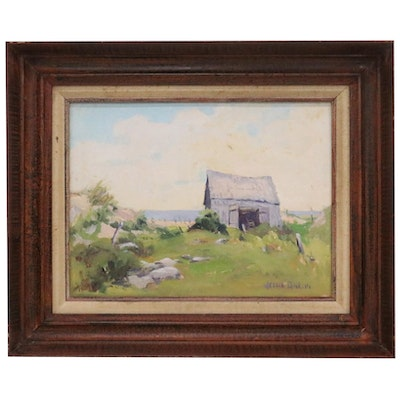 Jessie Conklin Coastal Landscape Oil Painting, Mid to Late 20th Century