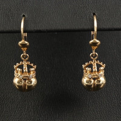 14K Diamond Crown and Heart Earrings