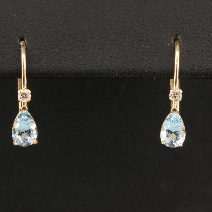 14K Aquamarine and Diamond Earrings