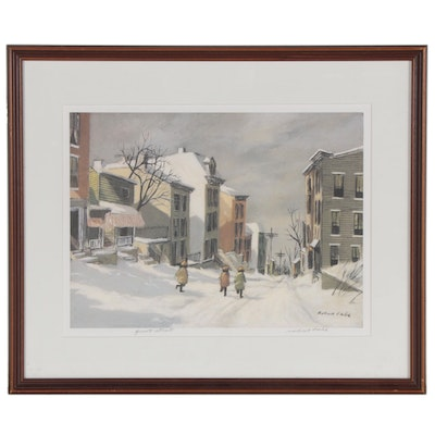 "Robert Fabe Offset Lithograph ""Quiet Street"""