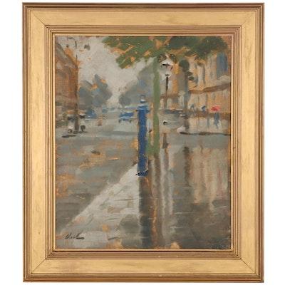 Hayward Veal Oil Painting of Rainy Sidewalk, Mid-20th Century