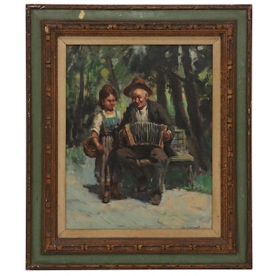Alfonso Sarno Oil Painting of Accordion Man and Child, Early-Mid 20th Century