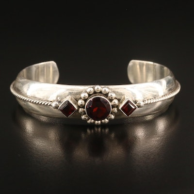 Sterling Silver Garnet Cuff with Rope Detailing