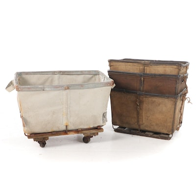 Canvas Laundry Hampers and Rolling Cart, Early to Mid 20th Century