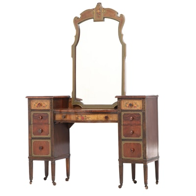 Sligh Furniture Co. Louis XVI Style Paint-Decorated Walnut Vanity Table & Mirror