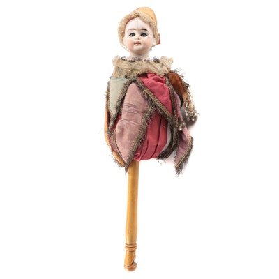 """German Style Musical """"Marotte Puppet"""" on a Stick, Late 19th-Early 20th Century"""