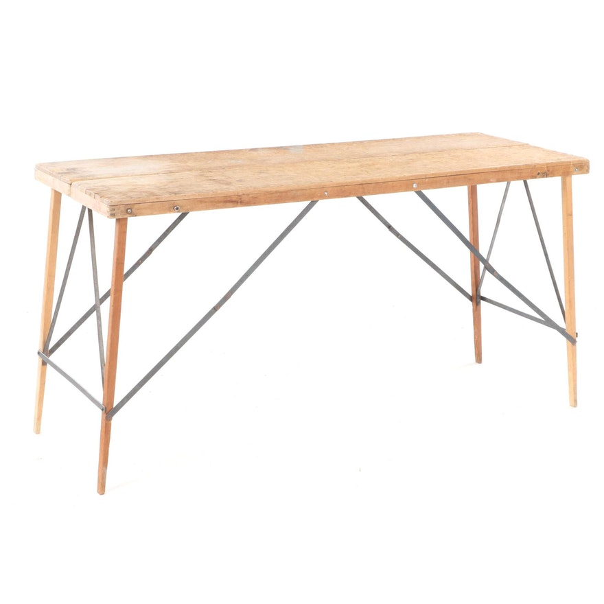 Industrial Style Wood and Metal Folding Work Table
