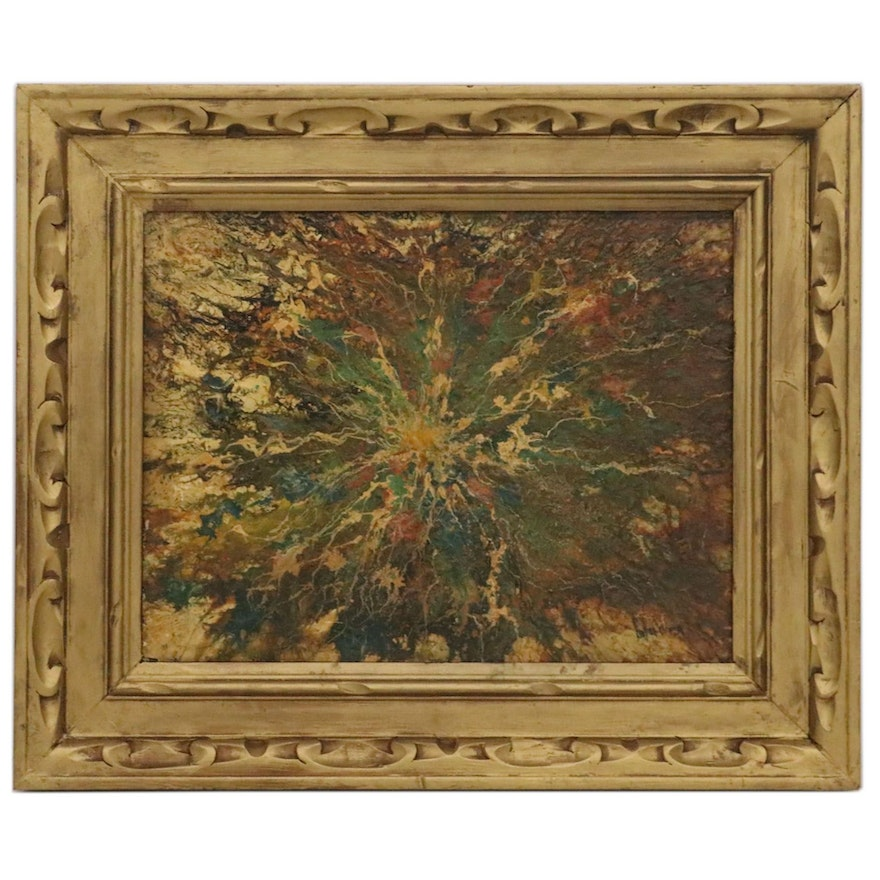 Abstract Expressionist Style Oil Painting, Mid-20th Century