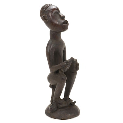 Yombe Inspired Carved Wood Figure, Central Africa