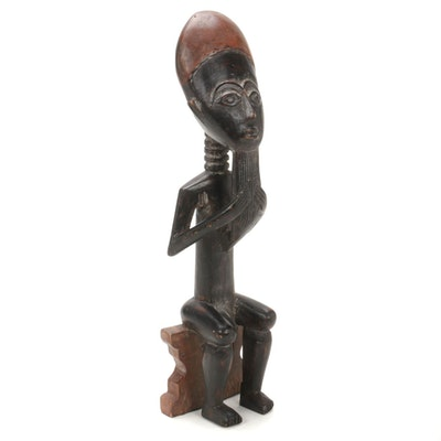 Asante Style Wooden Seated Figure, West Africa