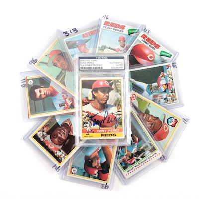 1970s Topps Cincinnati Reds Player Baseball Cards and Tony Perez PSA Hand-Signed