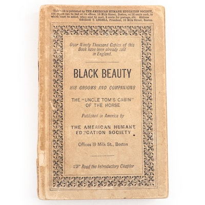 """First American Edition """"Black Beauty: His Grooms and Companions"""" by Sewell, 1890"""