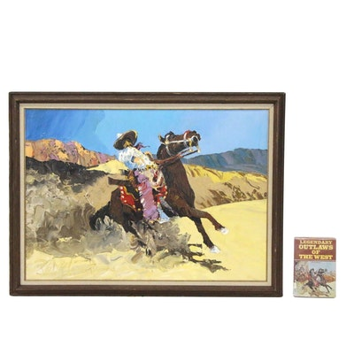 """Paul Blaine Henrie Oil Painting """"Aaii Chi Hua Hua"""" and Illustrated Book"""