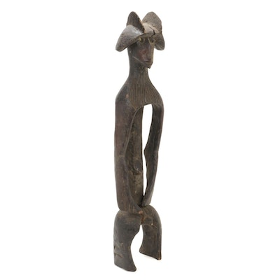 Mumuye Style Hand-Carved Wood Figure, Nigeria