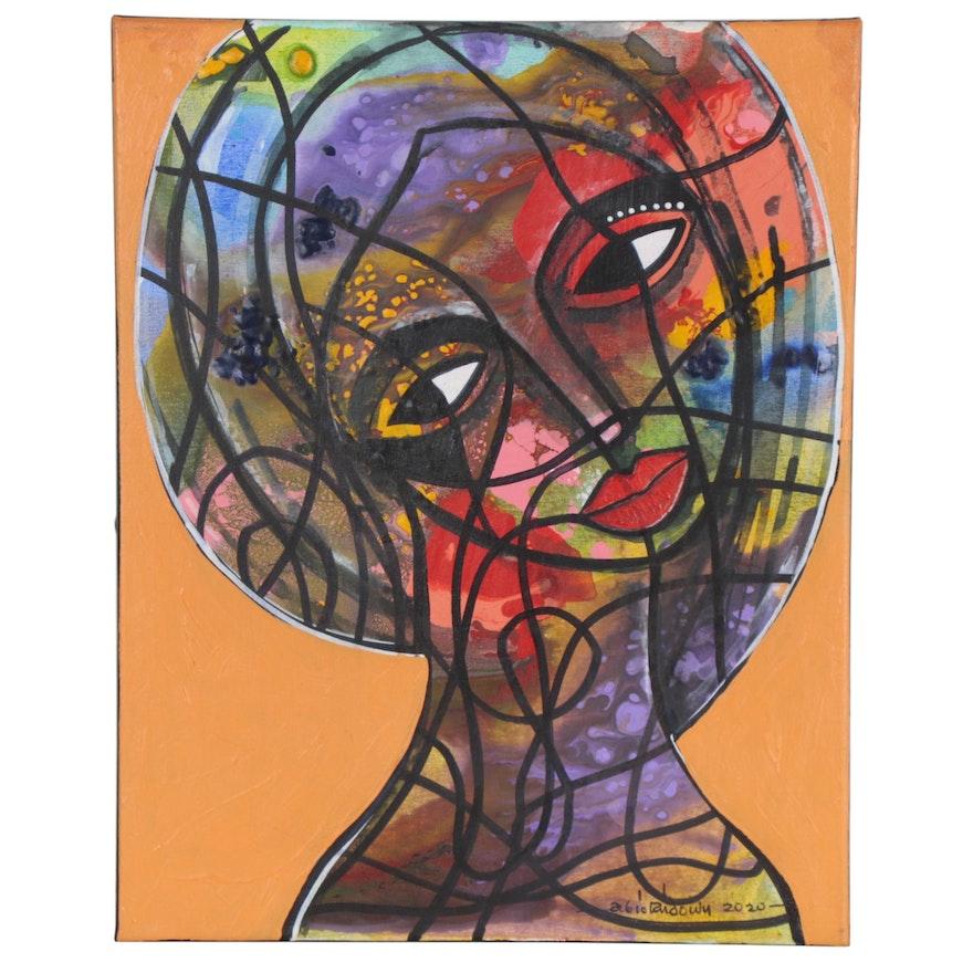 "Abiola Idowu Mixed Media Painting ""Purity"""